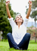 Happy woman outdoors — Stock Photo