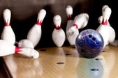 Hitting a bowling strike — Stock Photo