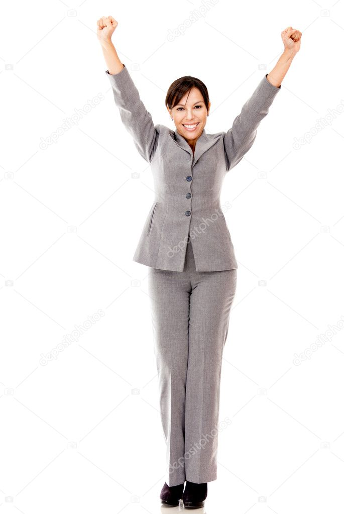 Business woman with arms up celebrating her success - isolated over white — Stock Photo #9023961