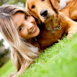 Girl with a puppy — Stock Photo #9042981