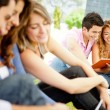 Group of students outdoors — Stock Photo #9043024