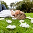 Stock Photo: Woman relaxing outdoors