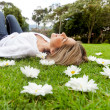 Woman relaxing outdoors — Stock Photo