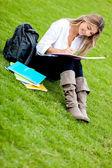 Ragazza studiando presso il parco — Foto Stock
