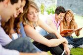 Grupo de estudantes ao ar livre — Foto Stock