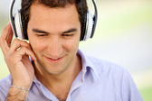 Man with headphones — Stock Photo