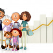 3D Family growing — Stock Photo