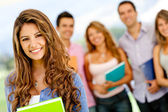 Woman with students — Stock Photo