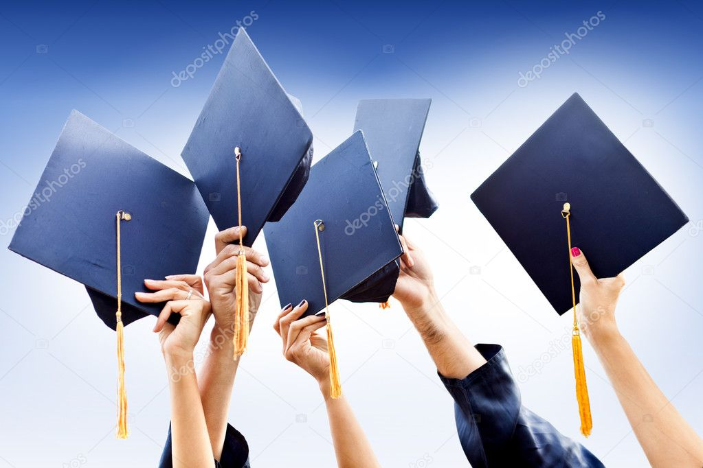 Group of throwing graduation hats in the air — Stock Photo #9086553