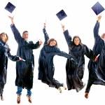 Graduation jumping — Stock Photo