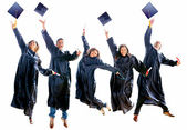 Graduation jumping — Stock Photo