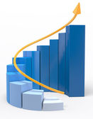 3D Growth graph — Stock Photo
