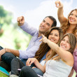 Group of friends pointing — Stock Photo #9151794