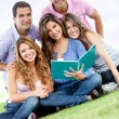 Group studying outdoors — Stock Photo