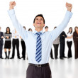 Businessman with arms up - Stockfoto