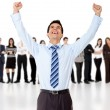 Businessman with arms up - Stock Photo