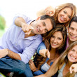 Group of friends pointing — Stock Photo