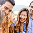 Group of friends talking — Stock Photo
