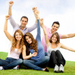 Happy group with arms up — Stock Photo