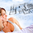 Couple with dream house - Stockfoto