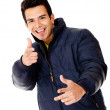 Happy man with a jacket — Stock Photo #9222978