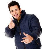 Happy man with a jacket — Stock Photo