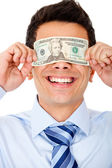 Man blinded by the money — Stock Photo