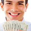 Rich man with dollars — Stock Photo