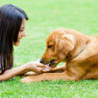 Woman with a dog — Stockfoto
