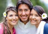 Man and two lovely girls — Stock Photo