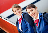 Friendly air hostesses — Stock Photo