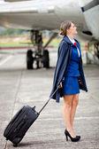 Mooie lucht gastvrouw — Stockfoto