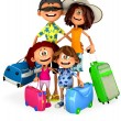 Stock Photo: 3D Family on holidays