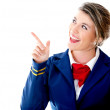 Air hostess pointing - Stock Photo