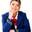 Stock Photo: Air hostess smiling