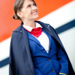Stock Photo: Beautiful flight attendant