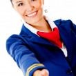 Welcoming air hostess — Stock Photo #9297833
