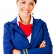 Flight attendant smiling — Stock Photo