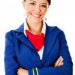 Flight attendant smiling — Stock Photo #9297836
