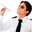 Stock Photo: Pilot with a paper airplane