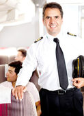 Pilot in an airplane — Stock Photo