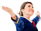 Flight attendant with arms open — Stock Photo