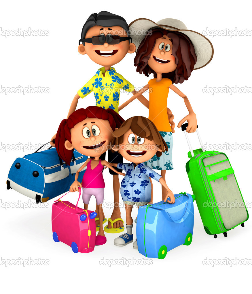 3D Family going on holidays - isolated over a white background — Stock Photo #9297780