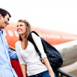 couple traveling by airplane — Stock Photo