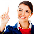 Stock Photo: Air hostess touching with finger