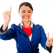 Stock Photo: Flight attendant pointing destinations