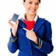 Stock Photo: Air hostess with smart phone