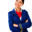 Stock Photo: Thoughtful flight attendant