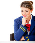 Air hostess looking at the table — Stock Photo