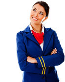 Thoughtful flight attendant — Stock Photo